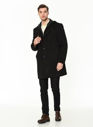 Dewberry Yünlü Ve Polyesterli Düğmeli Erkek Palto Siyah